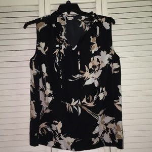 Black Tank Top with Floral Print
